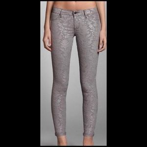 Abercrombie & Fitch Grey/Silver Floral Skinny